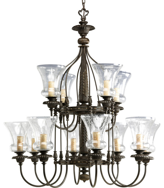 Progress Lighting P4411 77 Fiorentino 12 Light Chandeliers In Forged Bronze