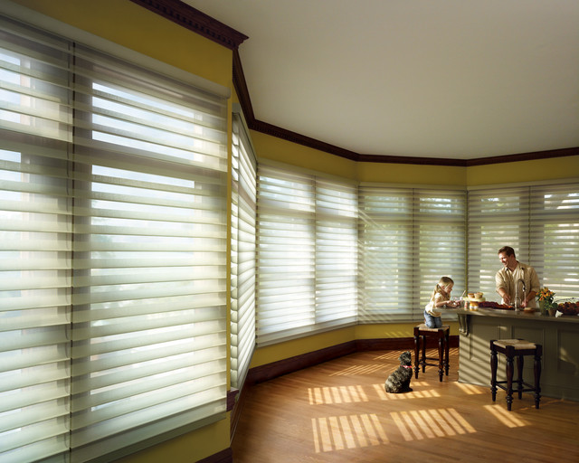 Silhouette® Quartette® window shadings with EasyRise™ cord loop eclectic-cellular-shades