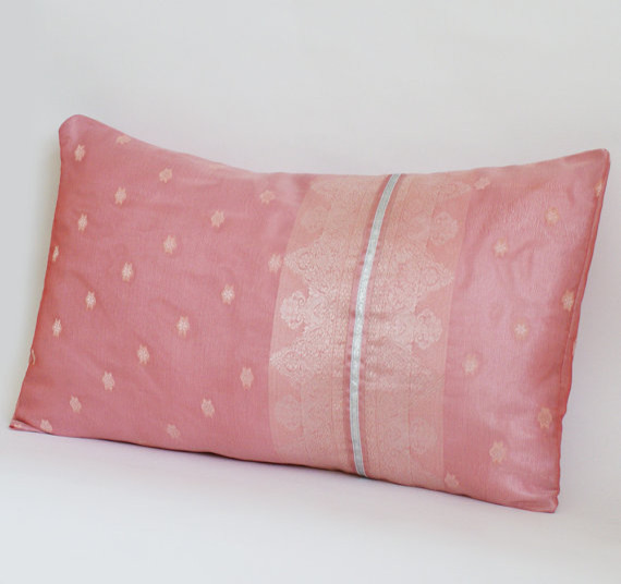Rose Pink Sari Pillow Cover by Behirah contemporary-decorative-pillows