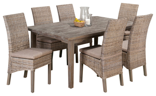 jofran burnt grey 7 piece rectangle leg dining room set