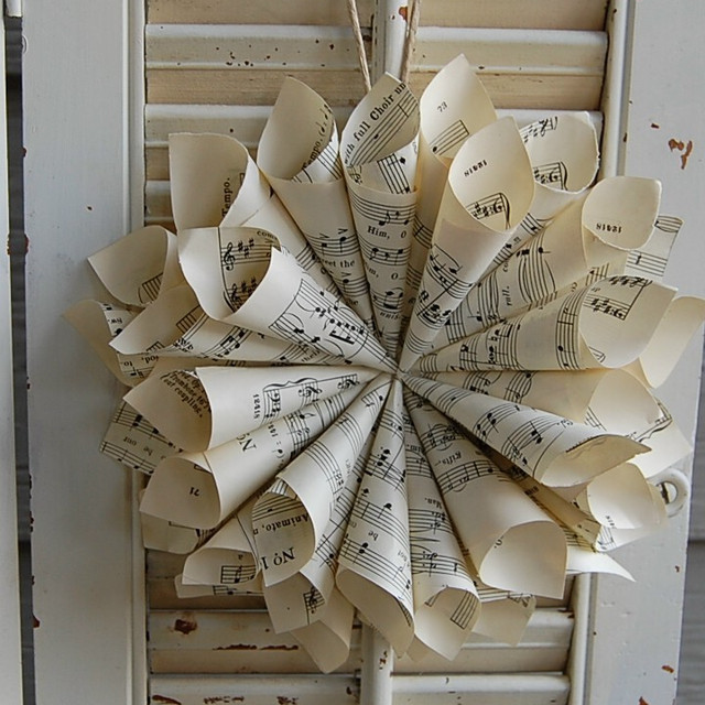 Vintage Sheet Music Cone Wreath by roseflower48 eclectic-wreaths-and-garlands