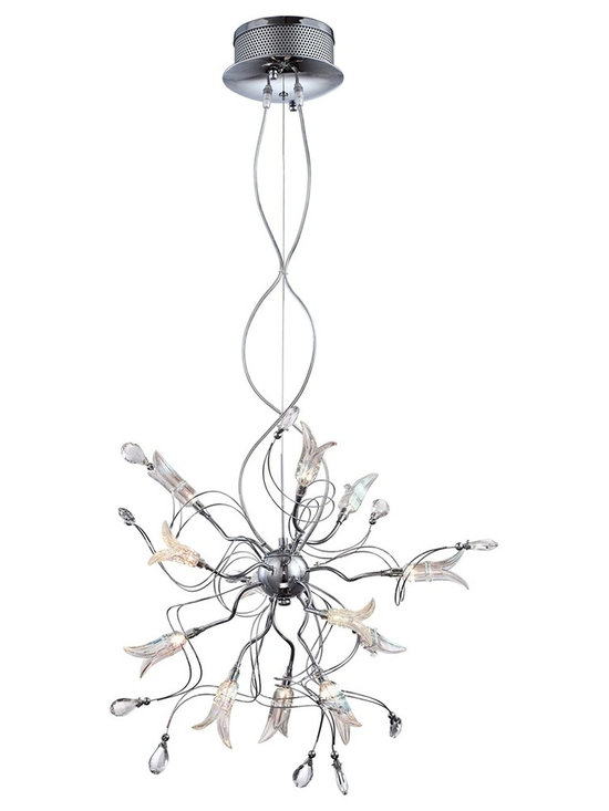 """Possini Euro Design - Chrome Flower 26"""" Wide Pendant by Possini Euro Design - A pendant chandelier design with an energetic abstract profile this design is perfectly at home in the modern world. It features  bent wire arms with crystal accents. Other arms feature glass flower shapes with 12 halogen bulbs inside. Chrome finish accents and ceiling canopy provide a bit of sparkle. Includes twelve 20 watt G4 halogen bulbs. 26"""" wide.  Chrome Flower pendant chandelier.  By Possini Euro Design.  Crystal accents.  Flower-shaped glass with bulbs.  Chrome finish canopy and frame.  Includes twelve 20 watt G4 halogen bulbs.   26"""" wide.  19"""" high.  Includes two 11-foot cords.   Canopy is 7 1/2"""" wide 4 3/4"""" high.   7 lb. hanging weight."""