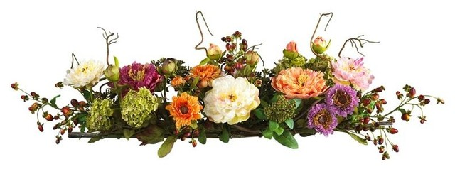 Mixed Peony Centerpiece Silk Flower Arrangeme contemporary-artificial-flowers-plants-and-trees