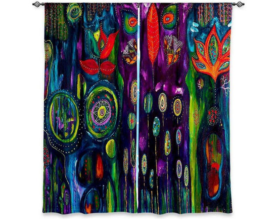 """DiaNoche Designs - Window Curtains Lined by Michele Fauss The Believers Garden - Purchasing window curtains just got easier and better! Create a designer look to any of your living spaces with our decorative and unique """"Lined Window Curtains."""" Perfect for the living room, dining room or bedroom, these artistic curtains are an easy and inexpensive way to add color and style when decorating your home.  This is a woven poly material that filters outside light and creates a privacy barrier.  Each package includes two easy-to-hang, 3 inch diameter pole-pocket curtain panels.  The width listed is the total measurement of the two panels.  Curtain rod sold separately. Easy care, machine wash cold, tumble dry low, iron low if needed.  Printed in the USA."""