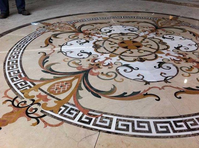 Custom Marble Water Jet Medallion Traditional Wall And Floor Tile New York By Garfield