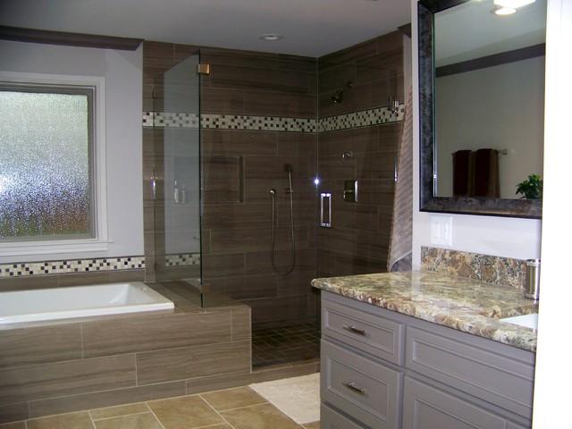 Gray Master Bath Remodel traditional