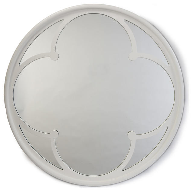Neve modern gloss white wood round small mirror for White round wall mirror
