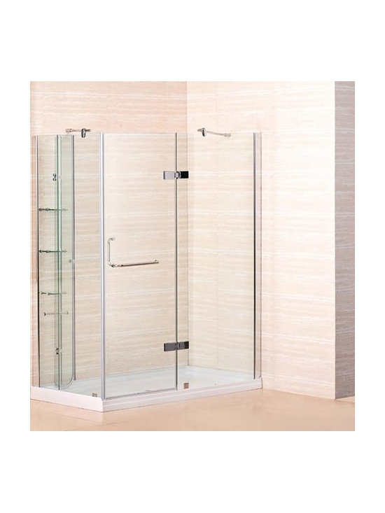"Aston Global 60"" x 32"" Frameless Shower Enclosure with Shower Base including She - Frameless, hinged shower enclosure with fiberglass-reinforced acrylic shower base included"