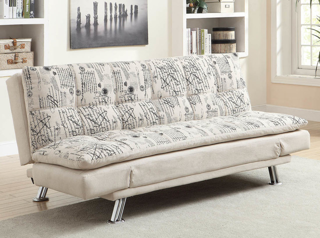 Kay French Script Pattern Printed Fabric Sofa Modern