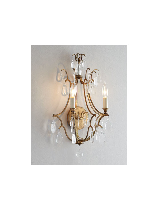 "VISUAL COMFORT - VISUAL COMFORT ""Penhurst"" Sconce - Opulence personified, this sconce features an open, elegant frame embellished with crystal droplets to add dimension and definition to the wall while it lights the room. Designed by Earl F. (Sandy) Chapman for Visual Comfort. Handcrafted of iron and c..."