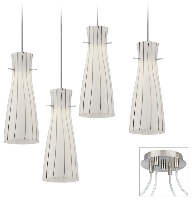 Striped Glass Brushed Nickel 4 Swag LED Chandelier contemporary-chandeliers