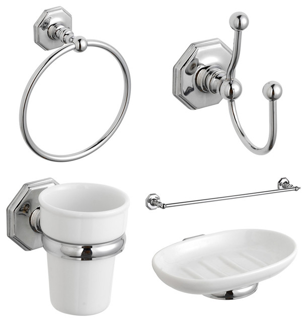 Luxury traditional bathroom accessories pack complete set for Bathroom accessories list pdf