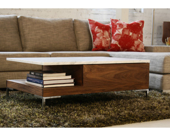 Viesso Brand Furniture - An overhang: much more useful than a hangover. Sino combines multiple materials beautifully in one cohesive coffee table. The overhanging top option creates a unique design element, as well as a useful shelf below. For even more storage, it even has an optional drawer you can hide things so the more beautiful items in the room can be shown. Like this modern table.
