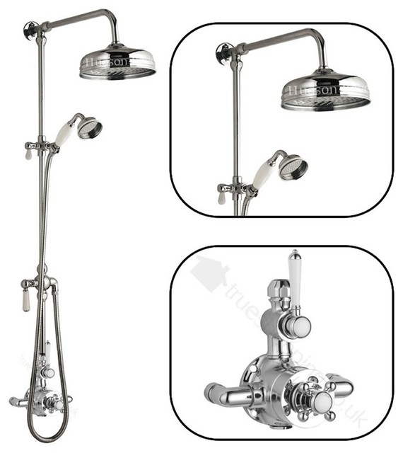 Traditional thermostatic shower system with victorian for Body spray shower systems