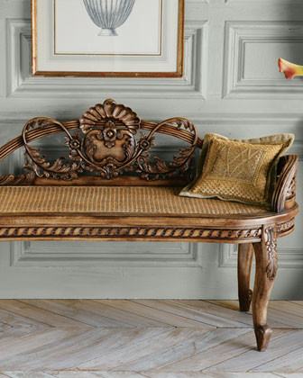'Shell' Cane Bench traditional-indoor-benches