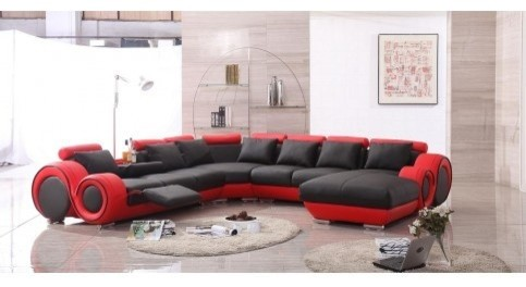 TOSH Furniture - Leather Sectional Sofa / Recliner - TOS-LF-4089-LT-BLK/RED modern-sectional-sofas