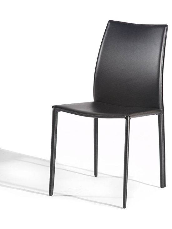 Gingko Home Furnishings - Lily Dining Chair, Brown - Slim dining chair packs lots of style.  Sturdy steel frame wrapped in bicast leather for a sleek yet comfortable dining chair.
