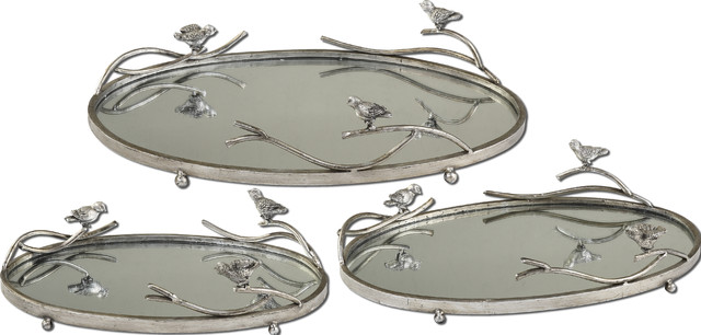 Birds On a Limb Mirrored Trays, Set of 3 contemporary-serving-dishes-and-platters