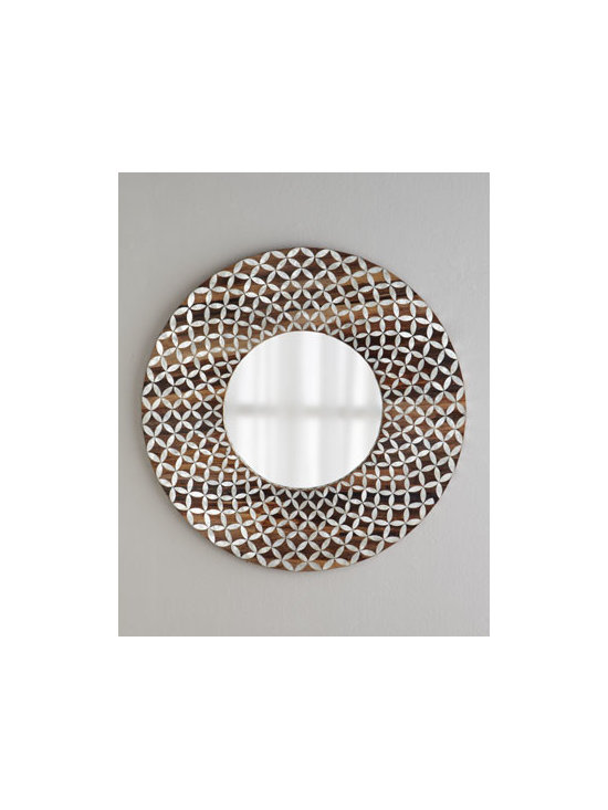 Horchow - Floral Capiz Mirror - With its optical illusion frame, this dramatic mirror adds intrigue to the room and might even inspire a conversation or two. Look at it one way, and the eye sees a repeating floral pattern. Look again, and the pattern becomes diamond motifs in circles....