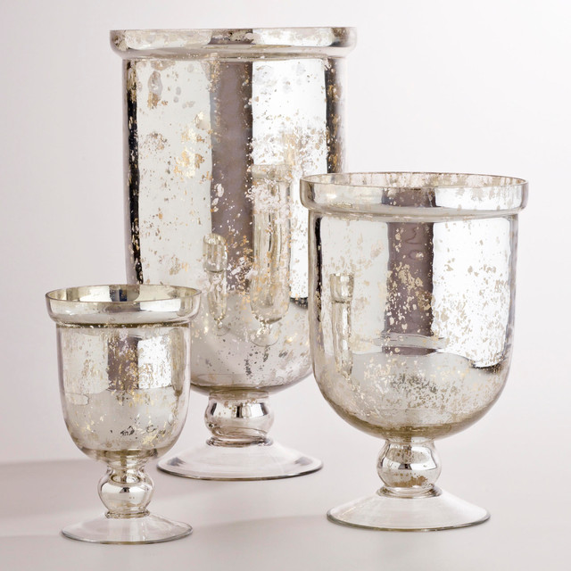 Silver Mercury Glass Hurricane Holders Traditional By