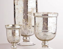 Silver Mercury Glass Hurricane Holders traditional-candles-and-candleholders
