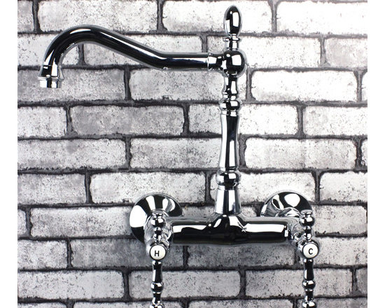 Double Handles Wall Mounted Chrome Bridge Kitchen Sink Faucet 5681A - Features:
