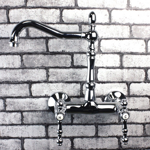 Double Handles Wall Mounted Chrome Bridge Kitchen Sink Faucet 5681A contemporary-kitchen-faucets