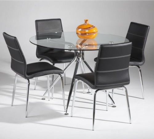 Chintaly Gail 5 pc Round Glass Dining Table Set  : contemporary dining tables from houzz.com size 500 x 452 jpeg 35kB
