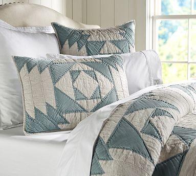 Linen & Silk Patchwork Quilt, Full/Queen traditional-quilts