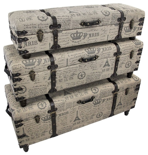 Paris-themed Burlap Covered Bench Trunks - contemporary - benches