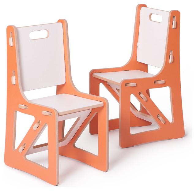 Kids chairs 2 pack orange white contemporary kids for Orange kids chair