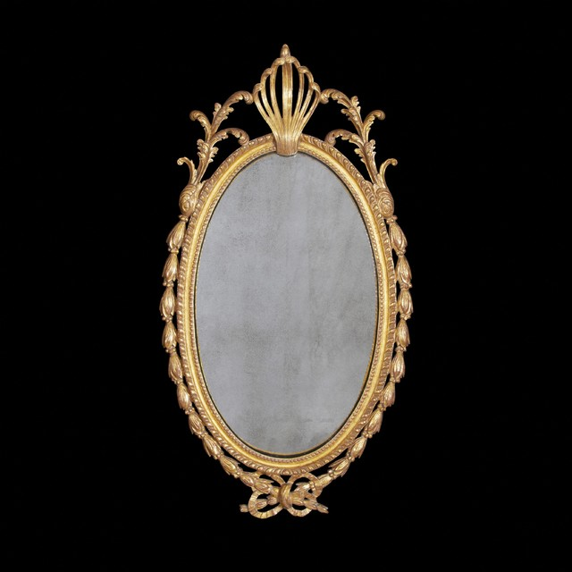 Fine and Rare George III Oval Carved Gilt Wood Mirror traditional-mirrors