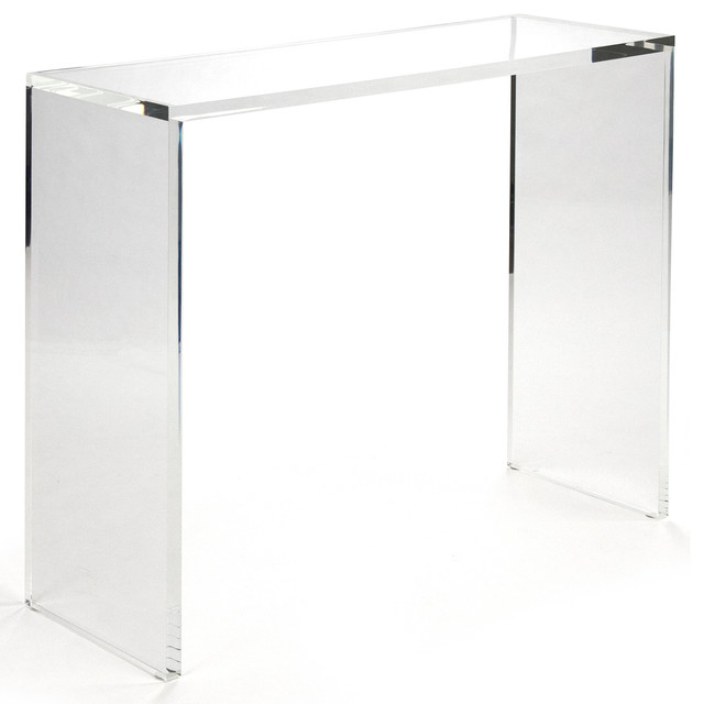 Clery clear acrylic large console transitional console tables by kathy - Console plexiglas transparent ...
