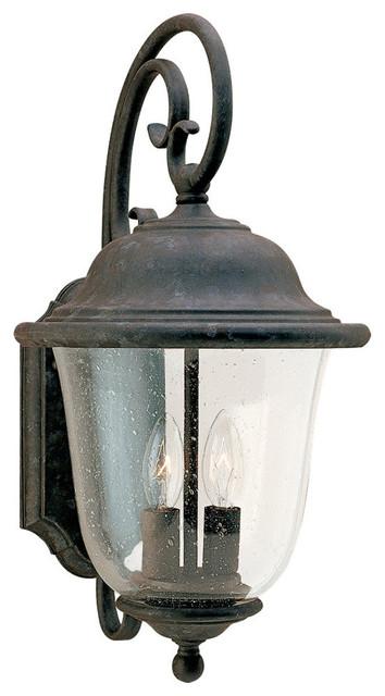 Sea Gull Lighting 8460-46 Trafalgar 2 Light Outdoor Wall Lights in Oxidized Bron transitional-outdoor-lighting