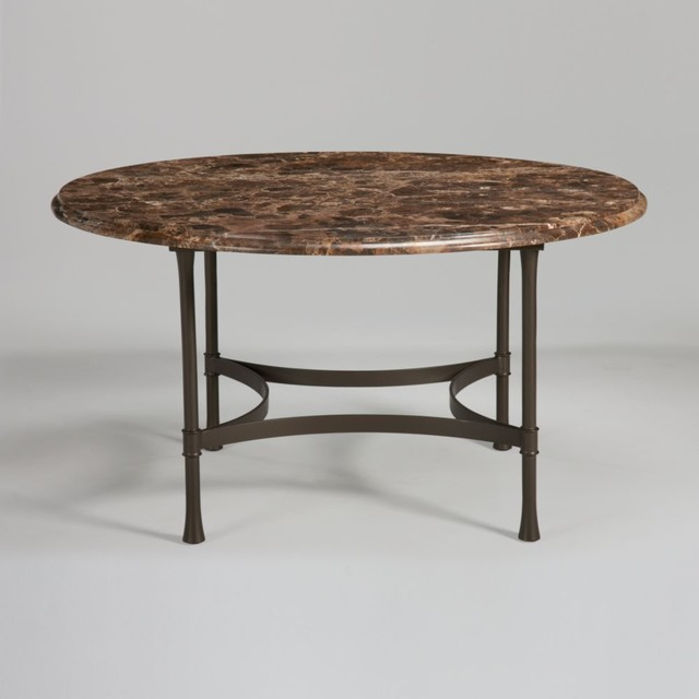 Biscayne round dining table with dark marble top for Round stone top dining table