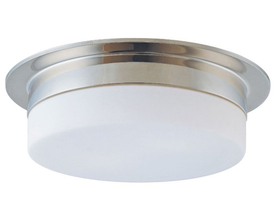 """Sonneman - Sonneman Flange 15"""" Polished Nickel Ceiling Light Fixture - A clean white shade is understated and provides the ideal room lighting. The lack of detail means this fixture will blend well with many decors. Design by Sonneman. Polished nickel finish. White frosted glass. Takes three 60 watt medium base bulbs (not included). 5"""" high. 14 1/2"""" diameter. Shade is 3"""" high 12"""" diameter.  Polished nickel finish.  White frosted glass.  Takes three 60 watt medium base bulbs (not included).  5"""" high.  14 1/2"""" diameter.  Shade is 3"""" high 12"""" diameter."""
