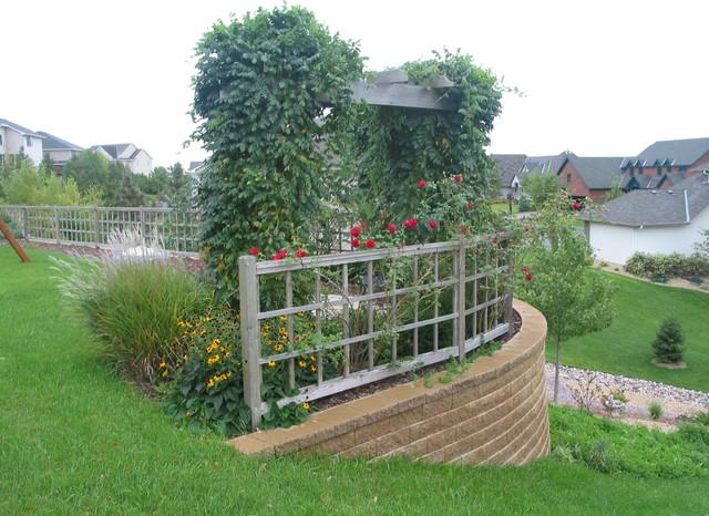 Back yard trellis custom fence flagstone patio