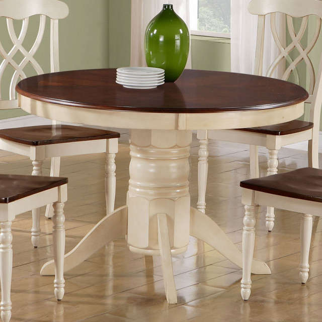 Antique White Walnut Veneer 48in Dia Pedestal Table Contemporary Dinin