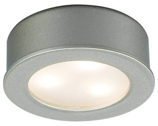 """WAC - LED WAC 3 Watt  Brushed Nickel Under Cabinet  Button Light - An ideal lighting solution for cabinets curios and kitchen counters this versatile LED button light can be surface-mounted or recessed for undercabinet or in-cabinet use. Part of WAC Lighting's LEDme collection the light comes supplied with 72"""" wires and has a 2"""" cutout template for recessed installations. The energy efficient LED lamp has a life of up to 50000 hours. Comes with a 5-year WAC Lighting product warranty. Please note: this light requires a Class 2 transformer driver which is sold separately sku(M6753). See below for transformer options. Brushed nickel finish. Includes three LEDs. Output of 180 lumens. Energy efficient. 2 1/4"""" wide. 3/4"""" high.  Brushed nickel finish.  Great for kitchens and work spaces.  Energy efficient design.  With three LEDs(one watt each) .  LED lamp life up to 50000 hours.  Output of 180 lumens.  Comparable to a 20 watt incandescent.  Color temperature 3000K.  5-year WAC warranty.  Requires a Class 2 transformer driver.  Transformer sold separately.  Power one LEDme Button Light use transformer sku(M6753)  Power up to three LEDme Button Light use transformer sku(M6754)  Power up to four LEDme Button Light use transformer sku(M6755)  3/4"""" high.  2 1/4"""" wide."""