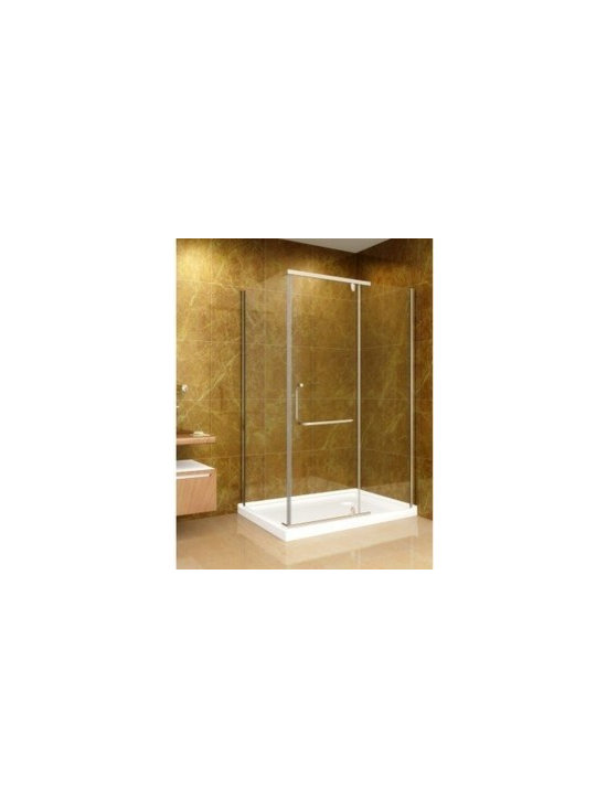 "Aston Global 48"" x 35"" Shower Enclosure with Shower Base in Chrome Finish with 1 - Semi-frameless, pivot shower enclosure with fiberglass-reinforced acrylic shower base included"