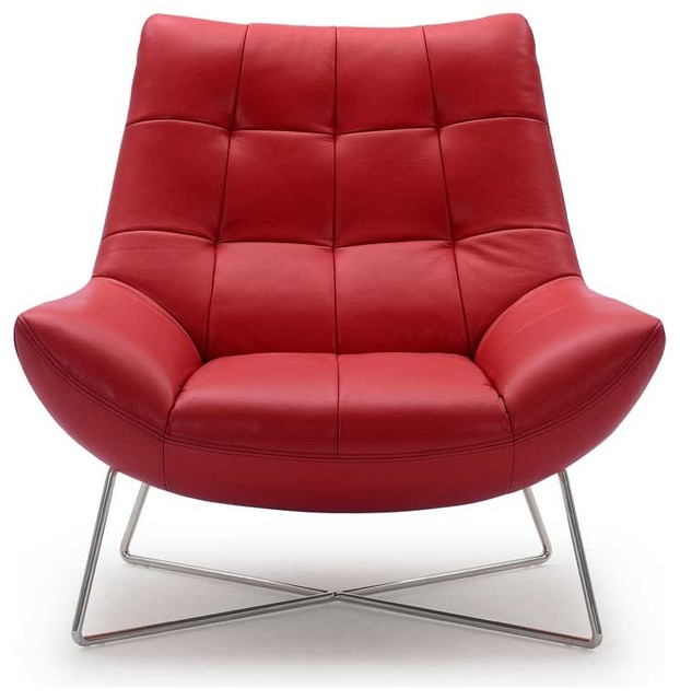 Medici Tufted Leather Modern Accent Chair Red Red Contemporary Living R