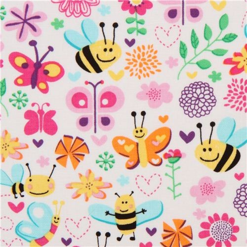white animal fabric with bee butterfly Michael Miller pink fabric