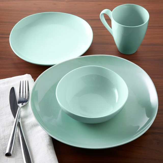 Modern Kitchen Plates: Organic Shaped Dinnerware, Mint, Sets Of 4