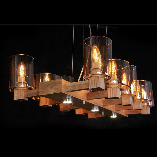 Country Cognac Glass Shades and Wood Frame Chandelier