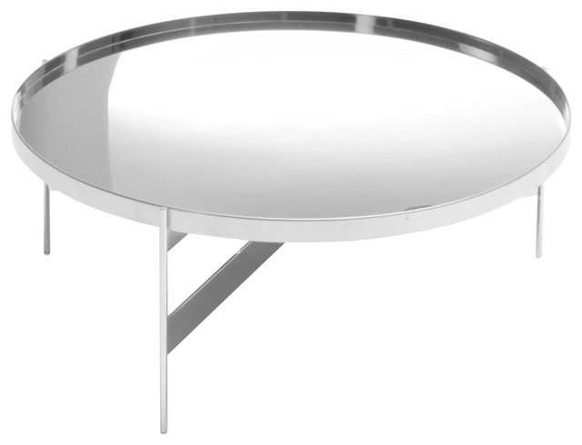 Abaco Modern Round Coffee Cocktail Table Portable Tray Chrome Medium Contemporary