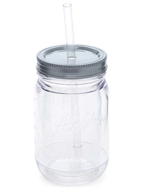 Aladdin - Clear Insulated 16-Oz. Mason Tumbler - This mason tumbler was crafted to bring out the best in a vintage-inspired kitchen, making it perfect for taking fresh lemonade on the go.   Includes tumbler, lid and straw 8.5'' H x 3.5'' diameter Holds 16 oz. BPA-free plastic Dishwasher-safe Imported