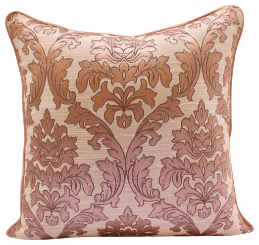 Pink Damask Pink Silk Throw Pillow Cover, 22x22 - Transitional - Decorative Pillows - by The ...