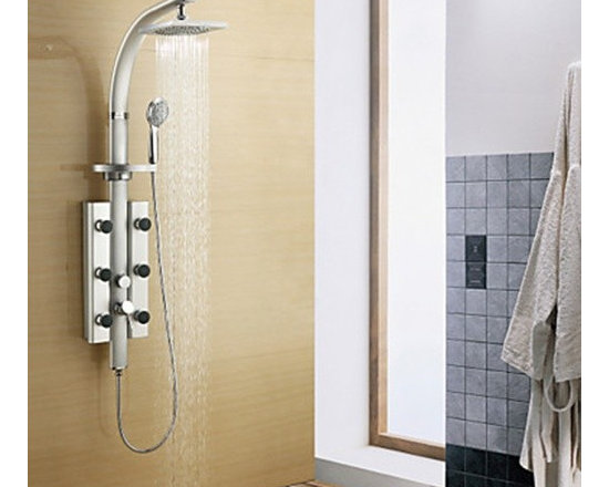 Shower Faucets - 20*20cm Wall Mount Rotatable Shower Panel Faucet with Body Sprays - Painting Finish--FaucetSuperDeal.com