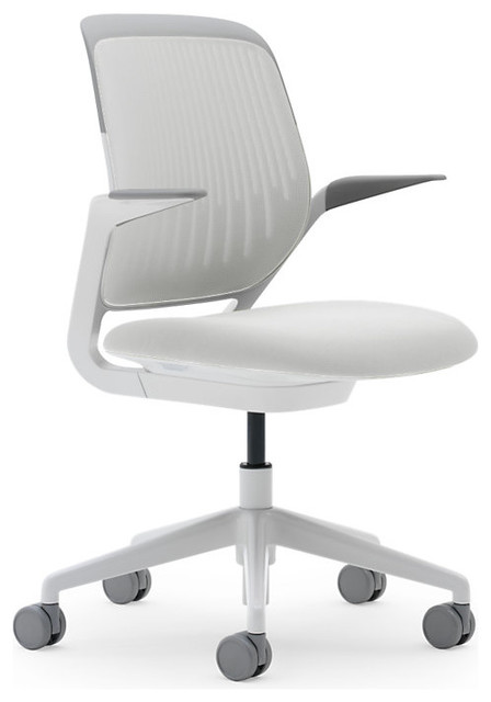 Steelcase Cobi Chair, White Frame w/Arms & Standard Casters, Coconut modern-task-chairs