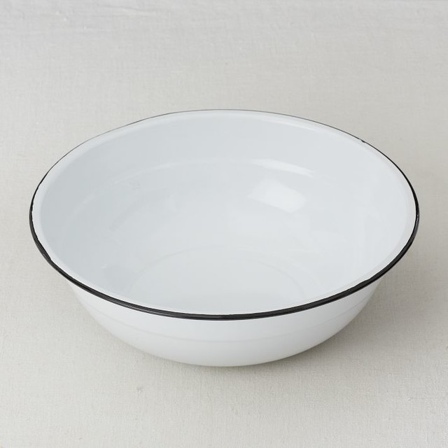 Enamelware Round Basin, Medium modern-serving-bowls